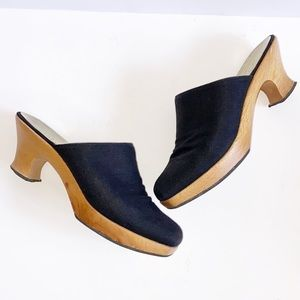 Paloma Black canvas & wood Mules/ Clogs Size 8